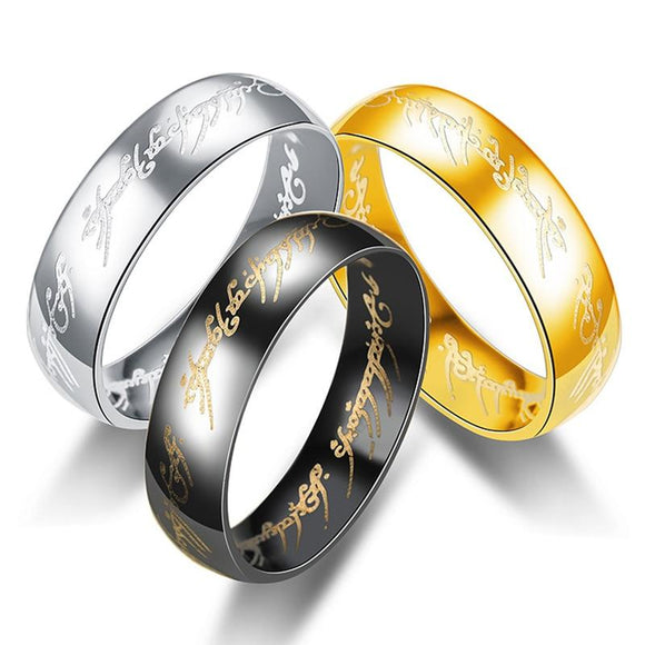 Stainless Steel Rings The Lord Of One Ring Jewelry Men Boy's Golden Silver Black