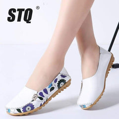 Stq Spring Women Flats Genuine Leather Shoes Slip On Ballet Ballerinas Woman Moccasins Loafers 170 - Xodeys.com