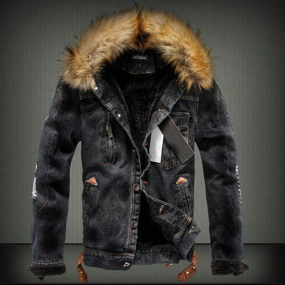 Streetwear Winter Jacket For Men Black Blue Punk Style Velvet Parka Denim Warm Fur Collar Hooded Coats