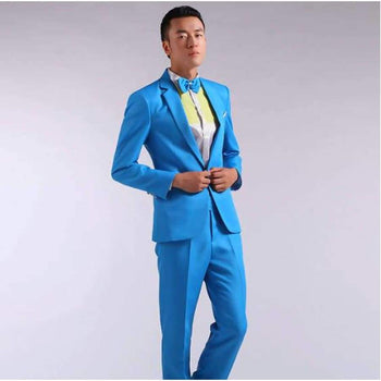 Suit Men Long-Sleeved Men's Suits Dress Hosted Theatrical Tuxedos For Wedding Prom Red Yellow Blue And Green M L Xl