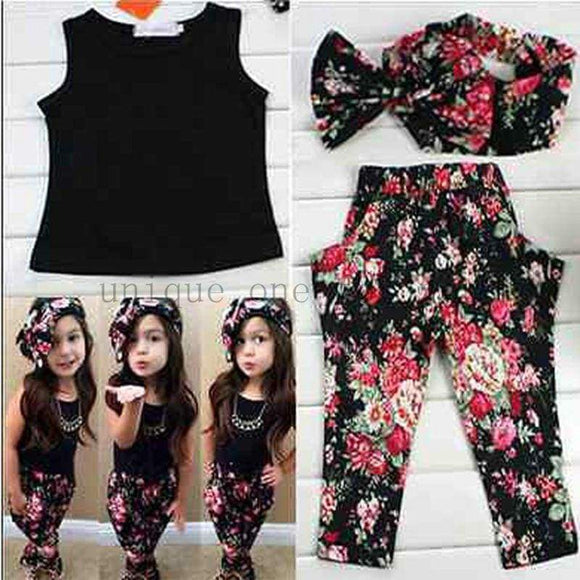 Summer Baby Girls Clothes Vest T-Shirt & Flower Pants Headband Pattern Style Suit For Kids Clothing Sets