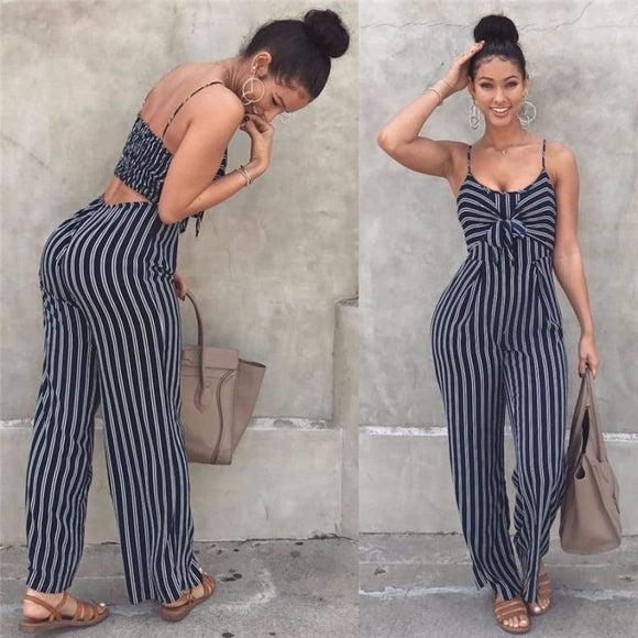 Summer Blue Bodycon Backless Stripe Jumpsuits Women Sexy Party Clubwear Casual Bowtie Overalls Jumpsuit Plus Size