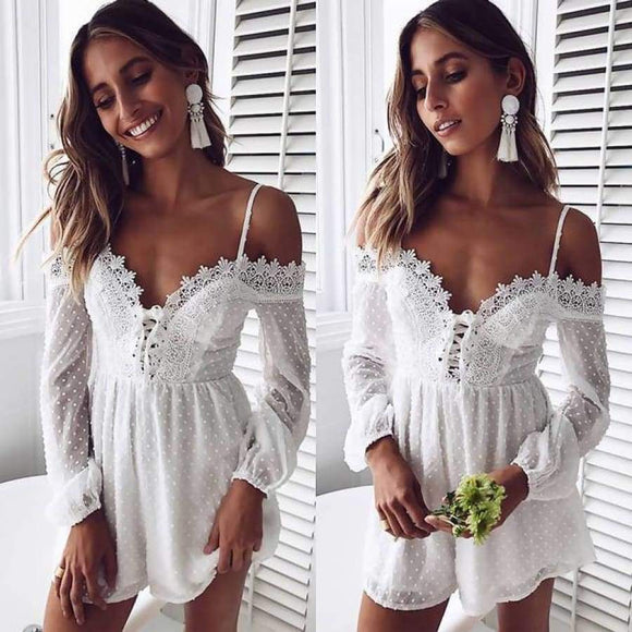 Summer Lace Up V Neck Embroidery Dot Sheer White Jumpsuit Women Boho Beach Playsuit