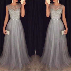 Summer Long Maxi Formal Lace Party Dress Women Elegant Plus Size O-Neck Sequined Bridesmaid Prom Dresses