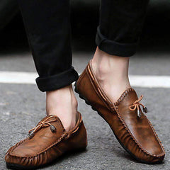 Summer Men's Loafers Italian Moccasins Slip On Leather Casual Shoes Driving Black Flats Sneakers For Men Brown Blue - Xodeys.com