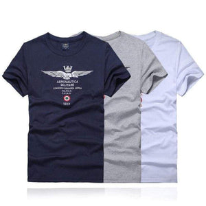 Summer Men's T Shirt Aeronautica Militare Embroidery O Neck Short Sleeve Slim Fit Casual White Gray Blue