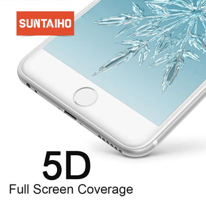 Suntaiho For Iphone 7 Glass 6S X 8 Plus Tempered Xr Xs Max Screen Protector 5D Full Cover Cold Carving