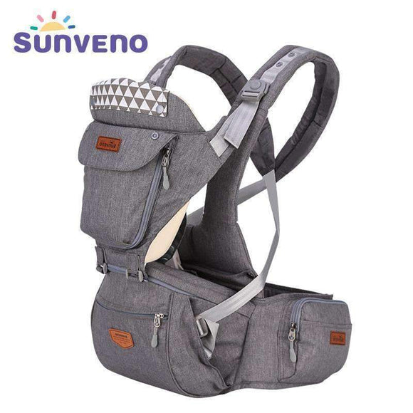 Sunveno Ergonomic Baby Carrier Infant Hipseat Sling Front Facing Kangaroo Wrap For Travel 0-36 Months blue