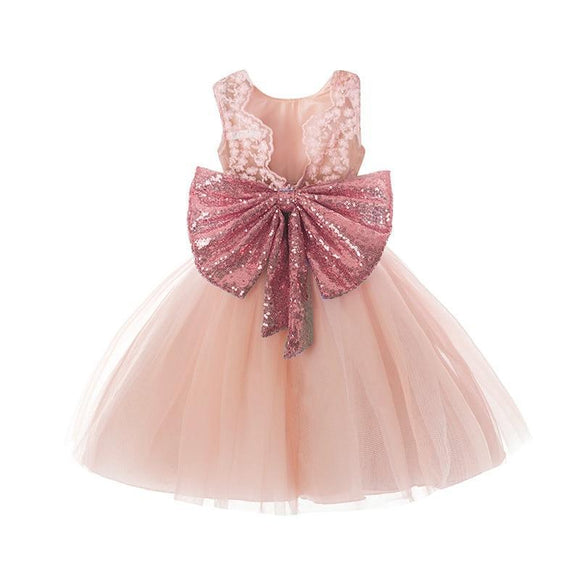 Super Bow Backless Summer Tutu Dress Floral Baby Christening Outfits Lace Party For 1 2 3 4 5 Years Birthday Wear B 12M