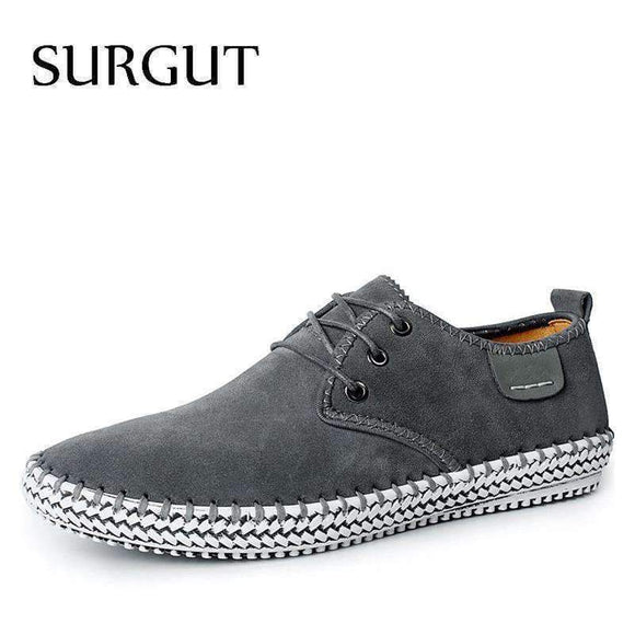 Surgut Minimalist Design 100% Genuine Suede Leather Men's Leisure Flat Spring Formal Casual Dress Oxford Shoes Gray Blue Black 6.5