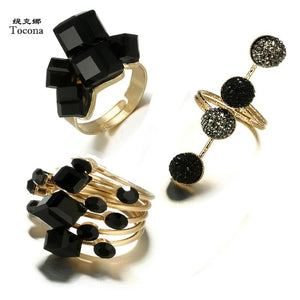 Tacoma Vintage Antique Gold Black Rhinestone Opening Knuckle Finger Midi Rings Set For Women Punk Statement Jewelry