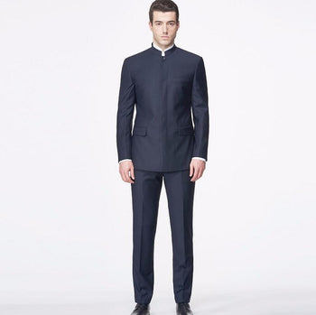 Tailor Made Men Suits Blazer Chinese Style Mandarin Collar High Custom Jacket & Pants Cotton Polyester