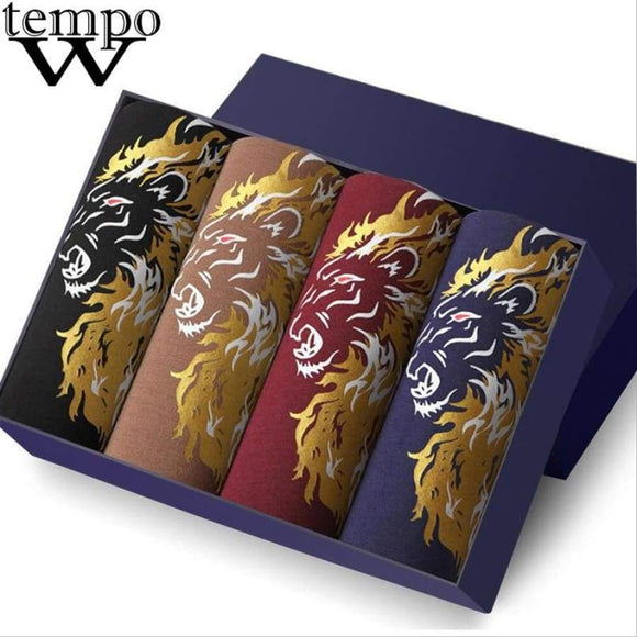 TEMPO Boxers Men's Sexy Underwear Modal Printed Funny Boxer Shorts Cuecas Underpants Lion 4 Pcs/lot