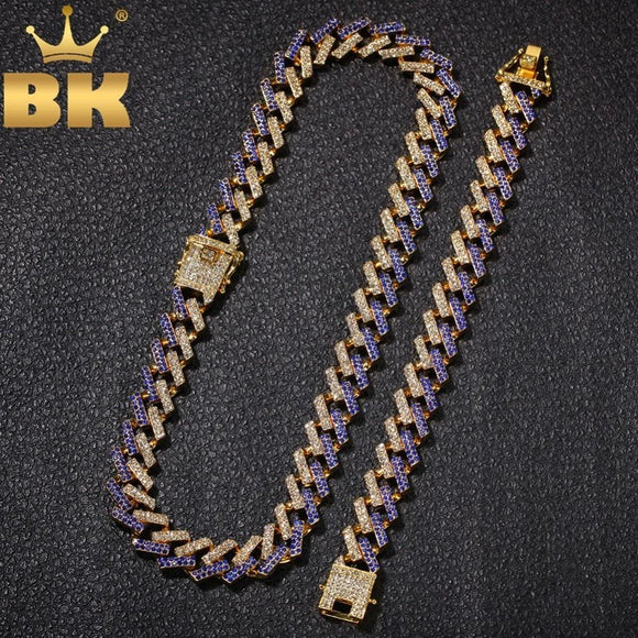 The Bling King Ne+Ba Jewelry Necklaces & Bracelets 15Mm Iced Out 2 Row Prong Cuban Link Chains For Men Women