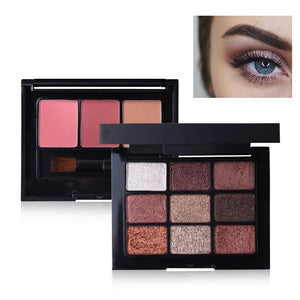 TIAI Makeup Palette Glitter Shimmer Eyeshadow + Cheek Blusher Set Matte Nude Eye Shadow Pigment Blush Contour Make Up Kit Tools