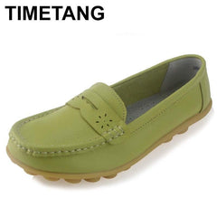 Timetang Women Real Leather Shoes Moccasins Mother Loafers Soft Leisure Flats Female Driving Casual Footwear Size In 4 Colors