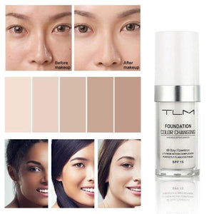 Tlm 30Ml Color Changing Liquid Foundation Change Into Skin Tone Concealer Whitening Base Makeup