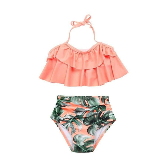 Toddler Baby Girl Swimwear Two Pieces Set Little 2Pcs Ruffle Halter Bathing Suit Swimsuit Sets Kids Clothes