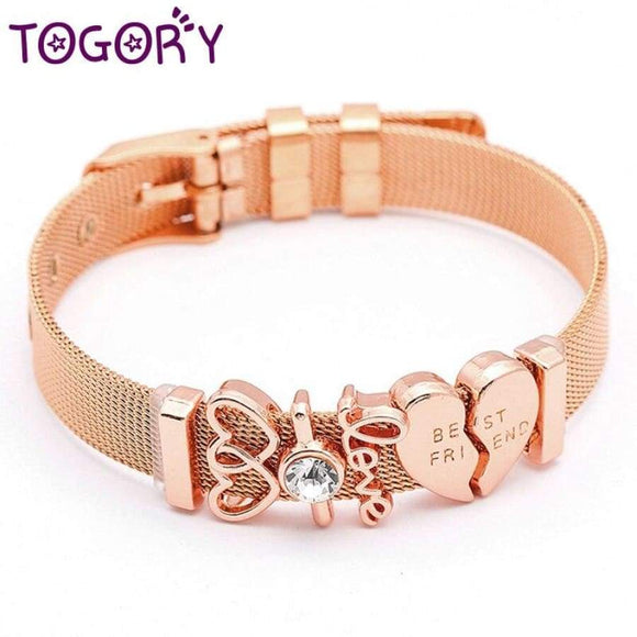 Togory Stainless Steel Woman Men Mesh Bracelet With Best Friend Beads Charm Pandora Bangle Fors