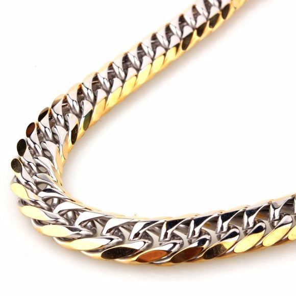 Trendy 11Mm 13Mm 16Mm Wide Silver Gold Color Biker Men's Necklace Or Bracelet Curb Cuban Link Chain 7-40 Inches Stainless Steel 10inch or 25cm 11mm Wide