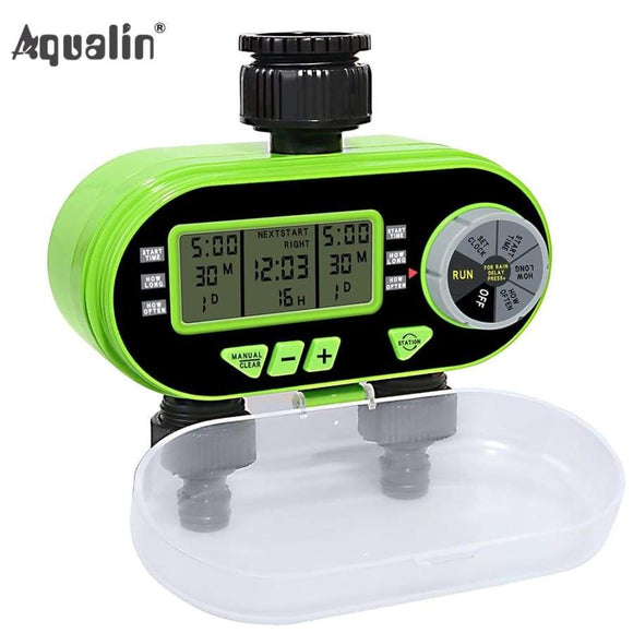 Two Outlet Garden Digital Electronic Water Timer Solenoid Valve Irrigation Controller For Yard#21060