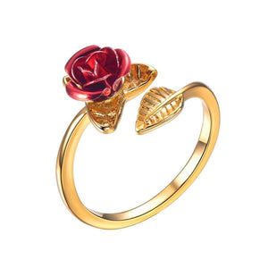U7 Red Rose Garden Flower Leaves Resizable Finger Rings For Women Valentine's Day Jewelry Open Ring R1019