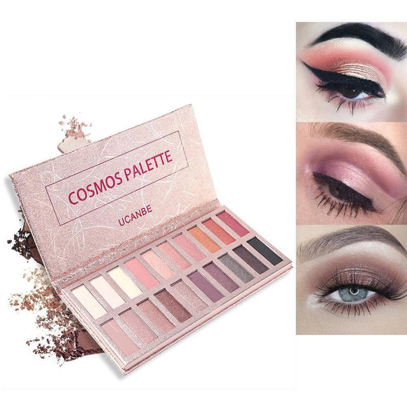 Ucanbe Cosmos Eyeshadow Palette 20 Color Makeup Set Glitter Matte Eye Shadow Soft Natural Nude Pigment Rose Gold Beauty Cosmetic 01 Rose Voile