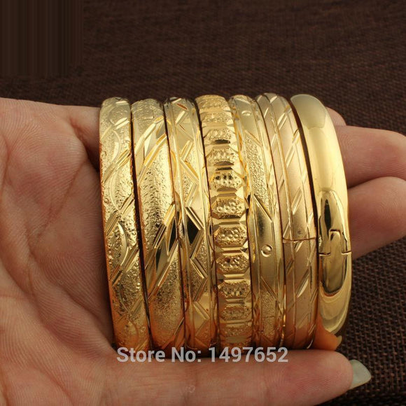Unisex Dubai Gold Bangles For Women Men18K Color Wide 8Mm Bracelets African/European/Ethiopia Jewelry