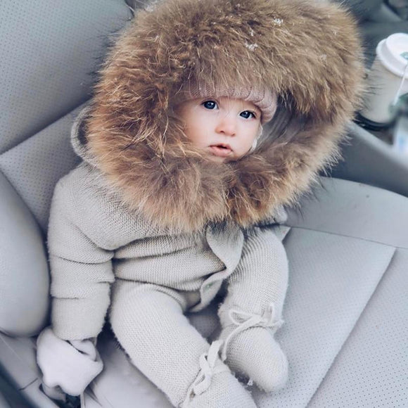 Unisex Infant Baby Rompers Winter Clothes Newborn Boy Girl Knitted Sweater Jumpsuit Raccoon Fur Hooded Kid Toddler Outerwear Cotton Polyester no fur 18M