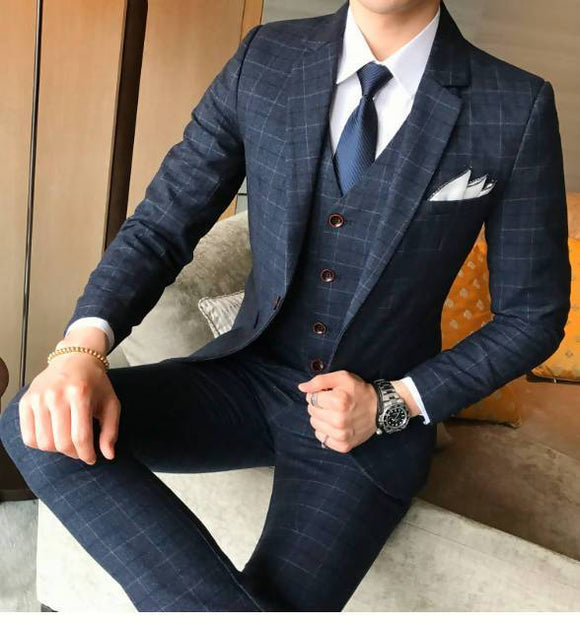 Unisex ( Jacket + Vest Pants ) Men's Boutique Plaid Wedding Dress Suit Three-Piece Male Formal Business Casual Suits