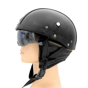 Unisex Motorcycle Motorbike Rider Half Open Face Pu Leather Helmet Visor With Collar Vintage Vespa