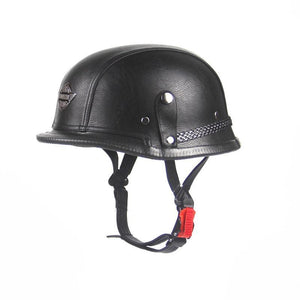 Unisex Open Face Half Leather Helmet Harley Wwii Style Black German Motorcycle Chopper Biker Pilot Vespa