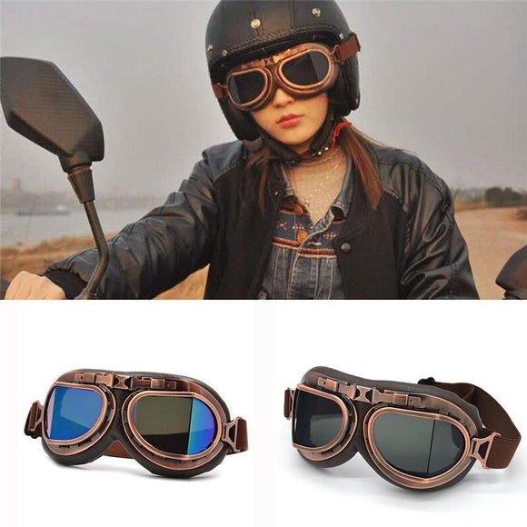 Unisex Women's Men's Motorcycle Goggles Glasses Motorbike Pilot Steampunk Vintage Atv Biker Scooter Cruiser Jet Helmet Cycling Ski Retro Sunglasses Multi-color Lens