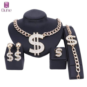 Us Dollar Jewelry Sets Necklace Bracelet Earrings Ring Women Money Sign Gold Color Middle Eastern / African Jewellery Set