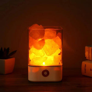 Usb Crystal Light Natural Himalayan Salt Lamp Led Air Purifier Mood Creator Indoor Warm Table Bedroom Lava