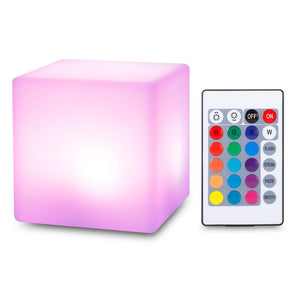 USB Rechargeable LED Cube Shape Night Light with Remote Control for Bedroom (WHITE)
