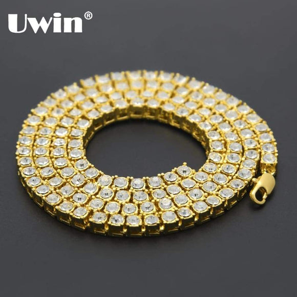 Uwin Men's Hip Hop Bling Iced Out Tennis Chains 1 Row Necklaces Luxury Silver/Gold Color Men Chain Jewelry