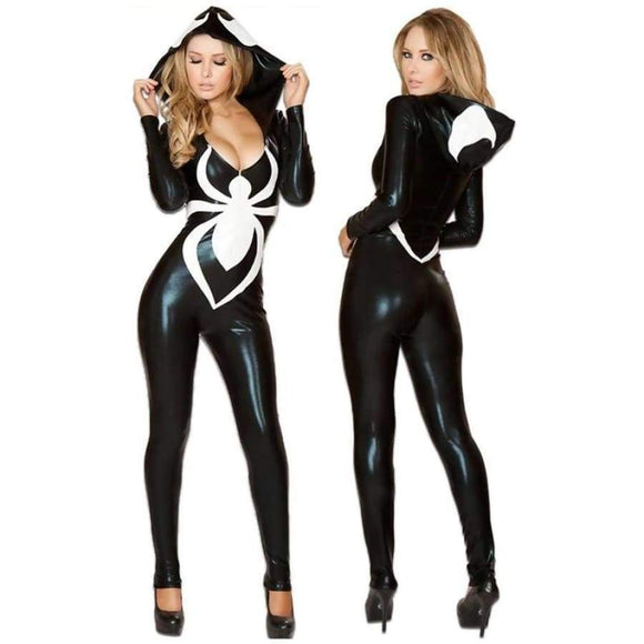 Venom Spider Sexy Faux Leather Women's Halloween Costume Jumpsuits