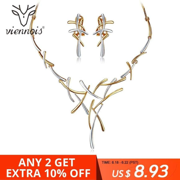 Viennois Necklace Earrings Dubai Jewelry Sets For Wedding Dress Bridesmaids Brides Party Or Prom Rose Gold & Gun Color