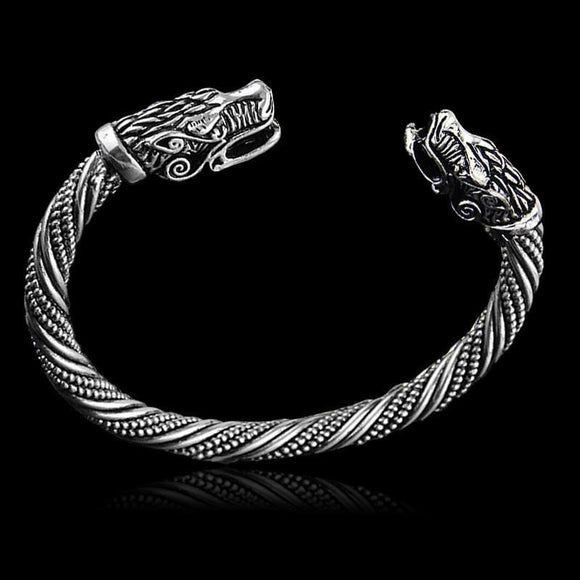 Vikings Wolf Head Open Bracelet Maxi Men Pagan Bangles Jewelry brozen