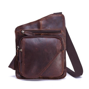 Vintage Casual Crazy Horse Leather Genuine Cowhide Men Chest Bag Small Messenger Bags For Man Shoulder