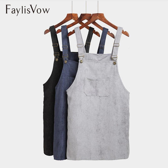 Vintage Corduroy Vest Overall Dresses For Women Casual Sleeveless Suspender Solid Retro Beach Sundress Loose Pockets Sukienki