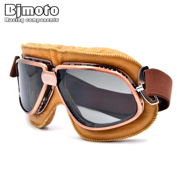 Vintage Motorcycle Goggles Pilot Motorbike Goggles Glasses Retro Jet Helmet Eyewear For Aviator Pilot Cruiser Cycling Bicycle