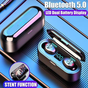 VOULAO Bluetooth 5.0 Earphone 8D Stereo Wireless Headphones Sport Waterproof Handsfree Earbuds Headset with 2000 mAh Power Bank