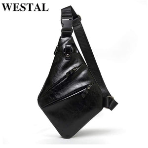 Westal Bag For Men's Chest Simple Messenger Bags Male Shoulder Casual Phone Pocket Money Pu Crossbody 1540 (1540A4Black)