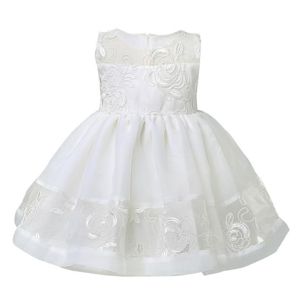 White Color Birthday Baby Girls Dresses Christening Gowns Infant Newborn Babies Baptism Embroidered Princess 0-3 months