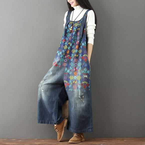 Wide Leg Bib Denim Overalls Women Vintage Printed Flower Jean Jumpsuits Female Large Size Drop Crotch Rompers G101501