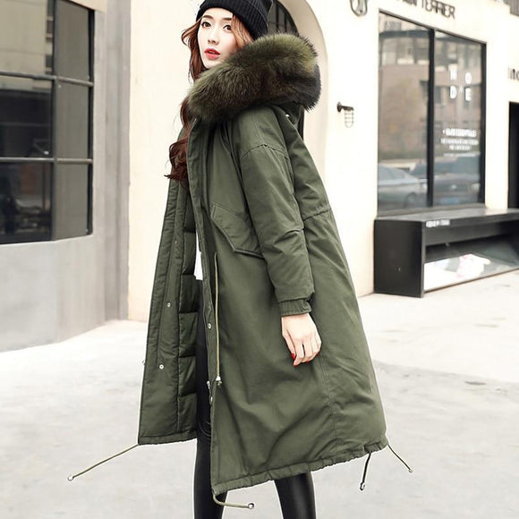 Winter Coat Women Warm Woman Parkas Female Overcoat White Duck Down Jacket Feather Army Green Black L