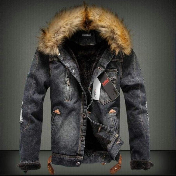 Winter Thick Denim Jacket Men Fur Collar Retro Ripped Warm Fleece Jeans Parkas Casual Coat For Male J0357