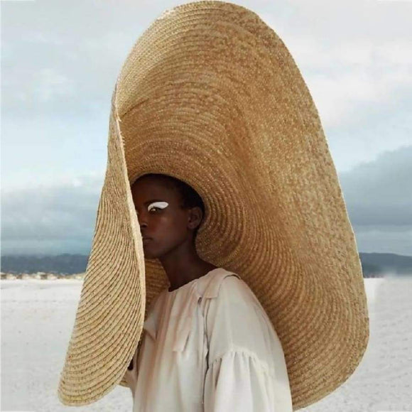 Woman Large Sun Hat Beach Anti-Uv Protection Foldable Straw Cap Cover Oversized Collapsible Sunshade